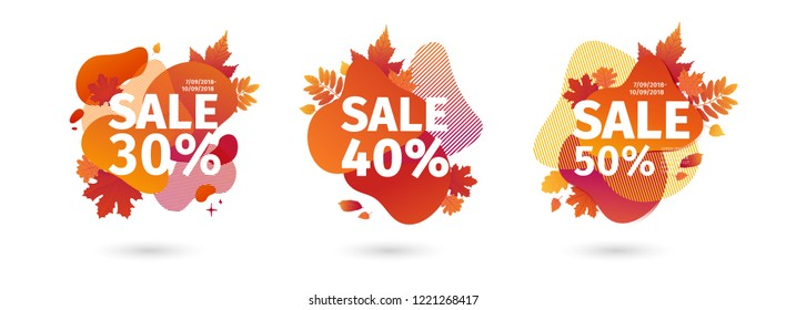 Set template design autumn sale. Abstract trendy geometric background for fall offer. Season frame with maple leave. Layout flyer autumnal vector illustration for shopping promo and price tag