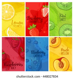 Set template design banners, cards, flyers with fruits and berries. Collection brochure with raspberries, strawberries, blueberries and lemon, kiwi, peach. Brochures with a watercolor texture. Vector