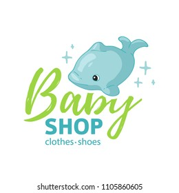 Set template design color logo for baby store. Symbol, label and badge for children shop with element newborn stuff. Vector