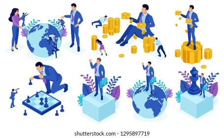 Set Template design, Isometric concept successful teamwork, investment in startups, business, time has come for action.