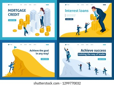 Set Template design, Isometric concept mortgage loan, Interest loans, achieving goal, climbing to the top.