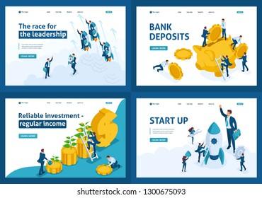 Set Template design, Isometric concept Bank deposits, startup, leadership, investment.