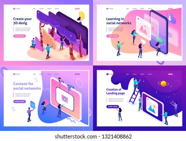 Set Template design, Isometric concept 3D design, learning, content for social network.