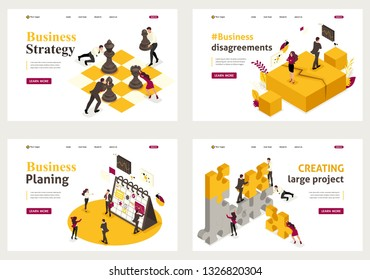 Set Template design, Isometric concept Business strategy, planning, disagreements, creating projects