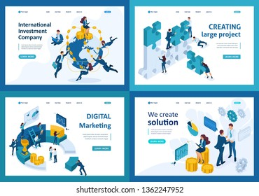 Set Template design, Isometric concept digital marketing, investing, create solutions, creating projects