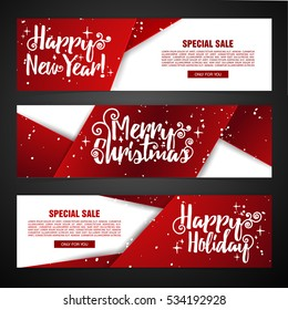Set template design Merry Christmas horizontal banner. Flyer with red tape background and Happy holiday text. Banner for new year sale. Christmas offer. Vector.