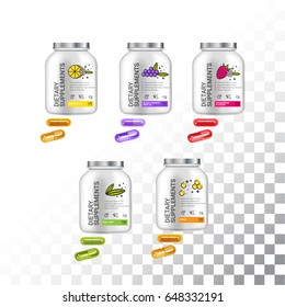 Set of Template dietary nutrition containers. Plastic Jars and capsules pills. Vector Illustration isolated objects