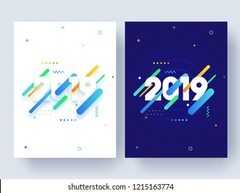 Set of template or flyer design with text 2019 on abstract background for Happy New Year celebration.