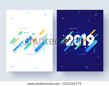 On Template | Set Template Flyer Design Text 2019 Stock Vektorgrafik Lizenzfrei