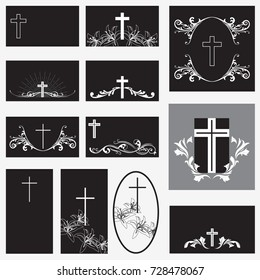 set  template funeral card with simple line cross and flowers, place for text