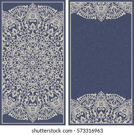 Set of template greeting card, invitation and advertising banner, brochure with space for text.Vintage Invitation or wedding card with floral mandala and elegant floral elements in dark blue and beige