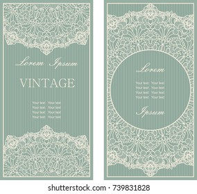 Set of Template greeting card, invitation and advertising banner, brochure with space for text. Vintage Invitation or wedding card with damask pattern and elegant floral elements in green and beige