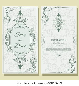 Set of Template for greeting cards, frame, border, ornament and classic  pattern., menus, labels. Graphic design page. Wedding invitation. Classic design elements. Vector Illustration