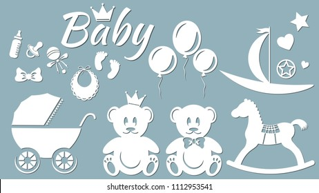 Set template for laser cutting and Plotter. Vector illustration. Bear, stroller, toy, horse, boat, ball, footprints, baby, ball, crown, baby, rattle, nipple, feeding bottle, bow, heart, star, wheels,