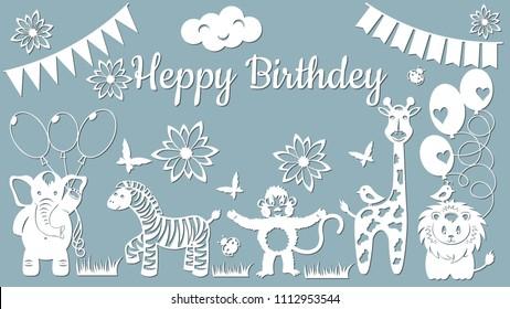Set template for laser cutting and Plotter. Vector illustration. Animal sticker set-Elephant, ball, butterfly, Zebra, flower, ladybug, beetle, monkey, giraffe, bird, lion, heart, flag, cloud,
