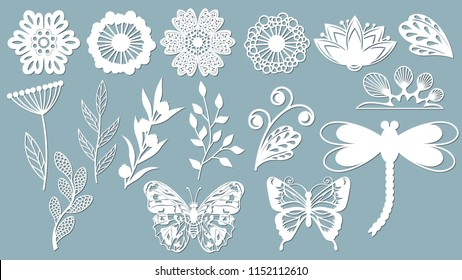 Set template for laser cutting and Plotter. Flowers, leaves, dragonfly and butterfly for decoration. Vector illustration. Sticker set