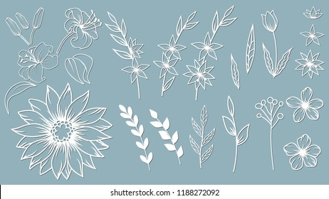 Set template for laser cutting and Plotter. Flowers, leaves for decoration. Vector illustration. Sticker set. lily. plotter and screen printing. serigraphy.