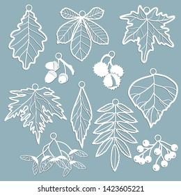 Set template for laser cutting and Plotter. Leaves Oak, maple, Rowan, chestnut, berries, acorn, seeds, birch, ash in the form of pendants. Leaves for decoration. Vector illustration. Sticker set. Plot