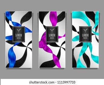 Set Template for package or flyer or label from Luxury background made by foil abstract ribbons waves hair in blue magenta cyan  on silver for cosmetic or perfume or for hair dye or  for brand book