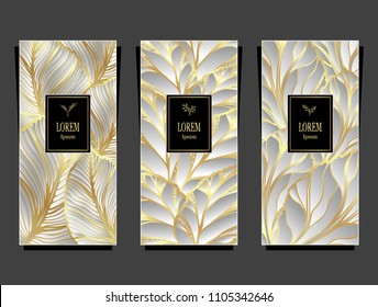 Set Template for package or flyer from Luxury background made by foil leaves in silver gold colors for cosmetic or perfume or for package of tea or for alcohol label or for advertising jewelry