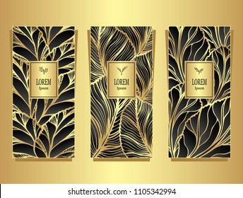 Set Template for package or flyer from Luxury background made by foil leaves in black gold colors for cosmetic or perfume or for package of tea or for alcohol label or for advertising jewelry
