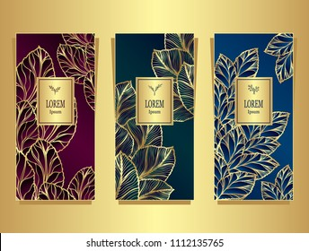 Set Template for package or flyer from Luxury background made by foil leaves in gold burgundy  dark green  dark blue  for cosmetic or perfume or for package of tea or for alcohol label or for brand bo