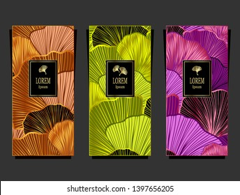 Set Template for package or flyer from Luxury background with  leaves  in orange green magenta for cosmetic or perfume or for package of tea or label or for brand book