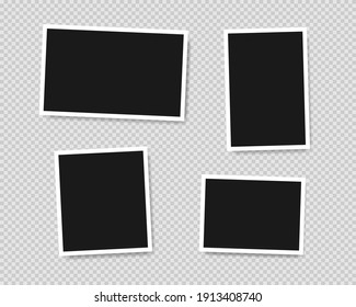 Set of template photo frames with shadow on transparent background. Vector illustration EPS 10