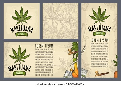 Set template posters Marijuana. Cigarettes, pipe, lighter, buds, leaves, bottle, cigarette, glass jar, plastic bag, pipe for smoking cannabis. Vintage color vector engraving illustration on beige