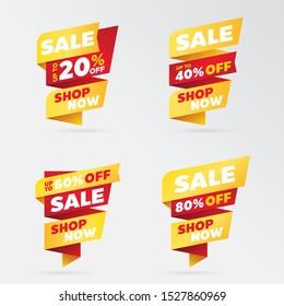 set template sale banner vector percent