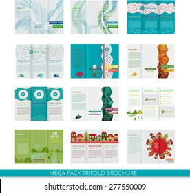 set template vector design trifold brochure stock vector royalty
