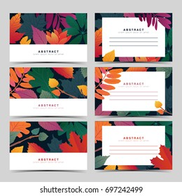Set template  white invitation card with fall leaf pattern. Individual gift card with autumn flower and herb. Autumnal layout with place for text. Vector