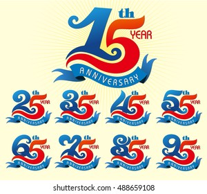 Set of template year anniversary celebration pattern design with ribbon