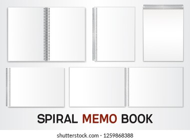 A set of templates for albums, notepads with a metal spiral. Blank sheets to insert your design. Isolated on white background. Vector illustration.