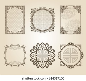 A set of templates of Asian frames and patterns, in sepia