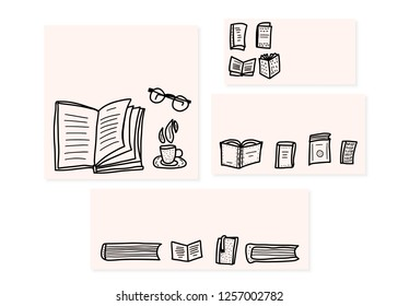 set of templates of banners with books and symbols of reading in doodle style. Vector illustration.