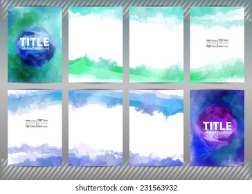 Set of templates brochure, cover and sheets. Abstract painted background.