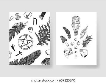 Set of templates cards. Hand drawn vector patterns brochures. Actual artistic design with mushrooms