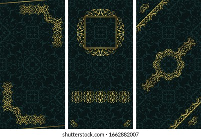 Set of templates for cards, invitations, posters, banners. Vintage golden decoration