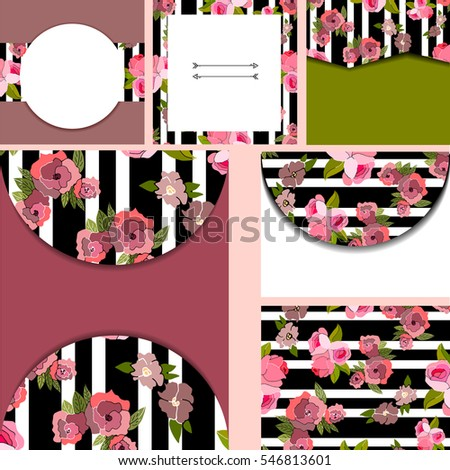 Set Of Templates For Cardsweddingbirthday Invitations With Vintage Floral Pattern