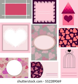 Set of templates for cards,wedding,valentines day,birthday invitations with hearts