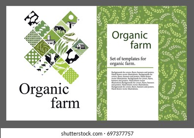 Set of templates for cattle farm. Hand drawn vector illustrations.