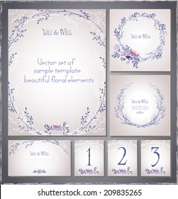 Set of templates for celebration. Invitation  card, letterhead, numbering for tables and different elements. Beautiful and elegant.