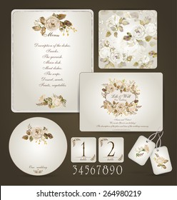 Set of templates for celebration, wedding. Beige roses. Invitation card, letterhead, numbering for tables and different elements. Watercolor flowers on  light cream background. Vintage design.