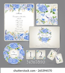 Set of templates for celebration, wedding. Blue flowers. Watercolor blue hydrangea, lavender, currant. Invitation card, letterhead, numbering for tables and different elements.  Vintage design