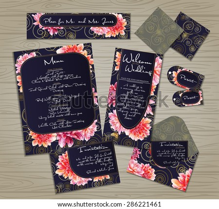 set of templates for celebration wedding red pink flowers watercolor dahlia