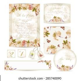 set of templates for celebration wedding watercolor yellow irises cornflower berry
