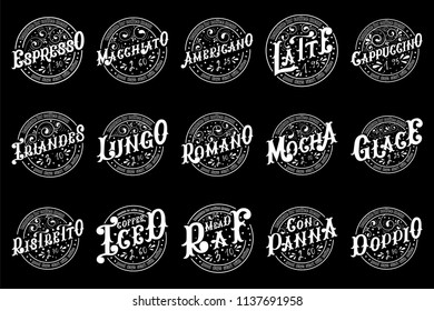 Set of templates for coffee menu. Hand draw lettering on black background.