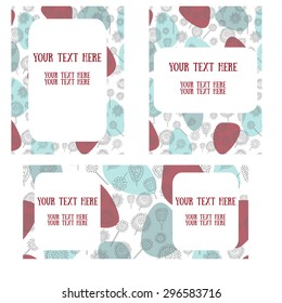 Set of templates for company or person business / name card design. Graphical flowers with blue and purple spots on back and place for text. Vector illustration.