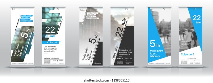Set of templates with a design of vertical banners. Signboard Advertising Brochure Flyer Template Vector X-banner and Street Business Flag of Convenience, Layout Background